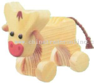 Wooden COW ON ROLL Toys from China