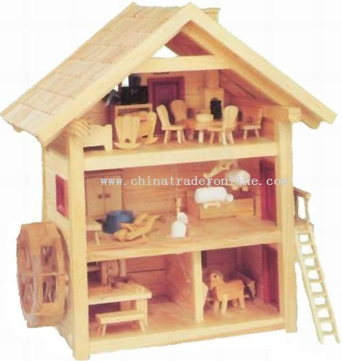 Wooden HOUSE W/MILL