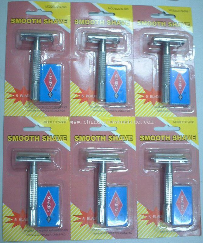 double edge razor with 5 replacement double edge blades