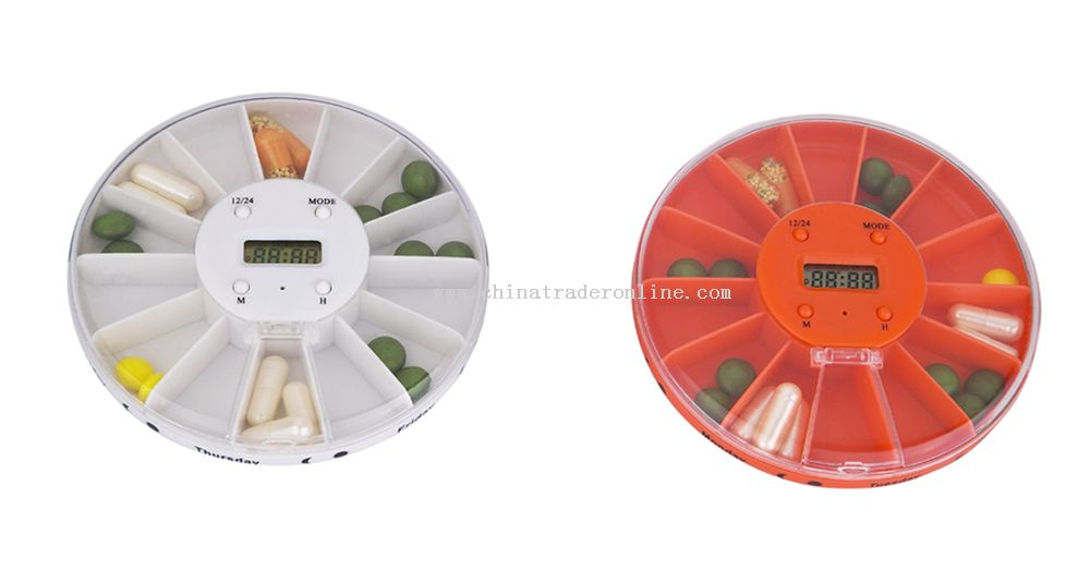 14-Compartment Pill Box with Time Display and Alarm Function