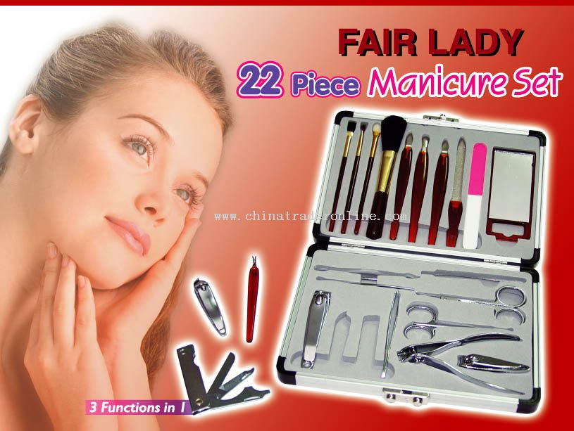 22pc Ladys Manicure Gift Set In Aluminum Case