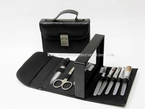 9pc Cosmetic Brush & Manicure Set In Leather Pouch