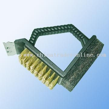Multi-function Grill Brush, Combining Scraper and Sponge Cleaning Brush