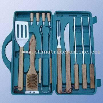 12-Piece Stainless Steel Barbecue Tool Set with Rubber Wooden Handles