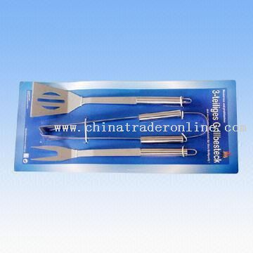 Three-piece Stainless Steel Barbecue Tool Set Attached on Paper Card