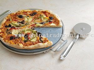 Pizza Stone with Stainless Steel Tray (14-in.)