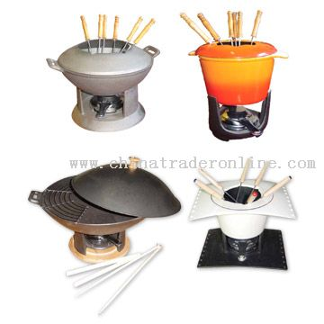 Enamel Cast Iron Fondue Set