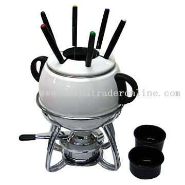 Enamel Fondue Set with Forks