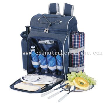 4-Person Picnic Backpack with Blanket