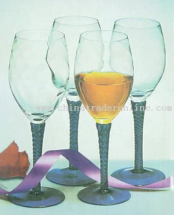 SET OF FOUR HAND MADE STEMMED WINE GLASSES