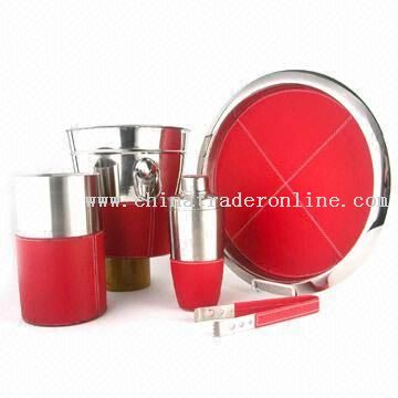 Stainless Steel Bar Set with Red Leather