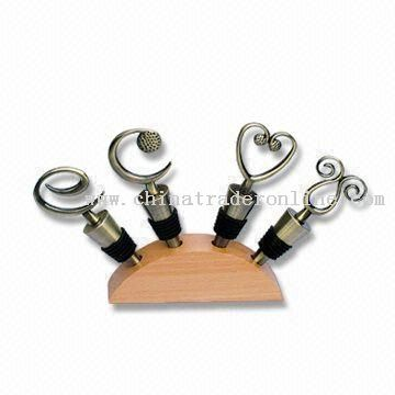 Four-piece Wine Stopper Set with Wooden Stand