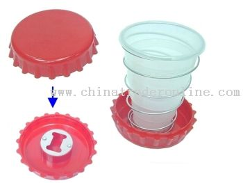 TELESCOPIC PROMOTIONAL CUP WITH BOTTLE OPENER