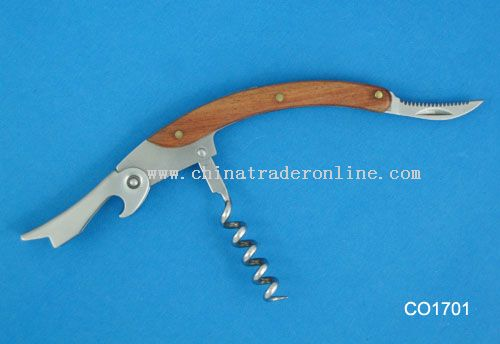 Corkscrew with wood handle