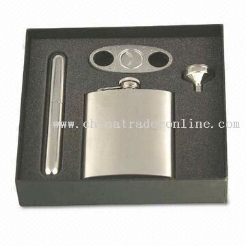 Hip Flask Set with Stainless Steel Funnel