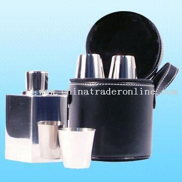 Portable 18/8 Stainless Steel Hip Flask Set
