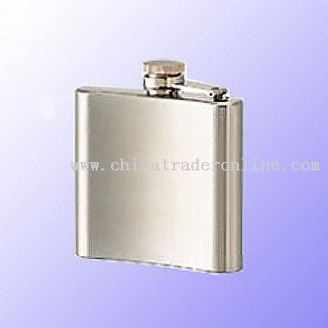 Seven Ounce Stainless Steel Hip Flask with Mirror Finish or Leather Cover