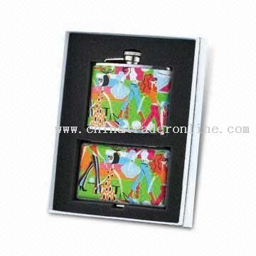 Stainless Steel Hip Flask Gift Set with Cigarette Case