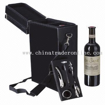 Deluxe Wine Set with Leather Case for Double Bottle