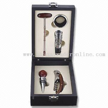 Five-piece Wine Tool Set with Black Wooden Box