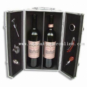 Six-piece Deluxe Wine Set with Aluminum Case and Thermometer