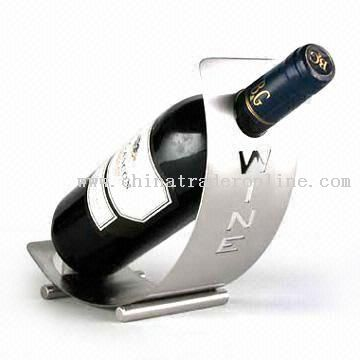 Stainless Steel Wine Holder with Brushed Finish