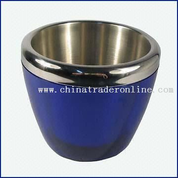 Ice Bucket with Plastic Exterior and Stainless Steel Interior