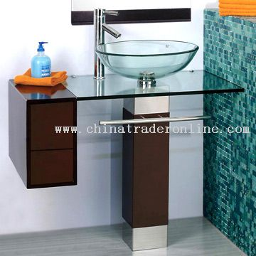 Solid Wood Glass Basin from China