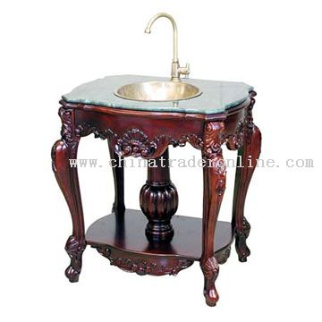 Wash Basin handmade antique wood carved