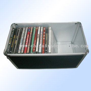 black PVC leather, with silvery frame CD case
