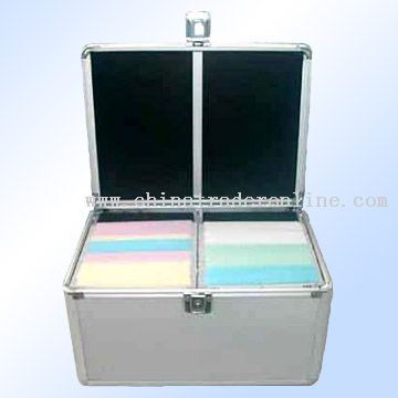 diamond-pattern plate and half-moon-shaped aluminum strips CD case