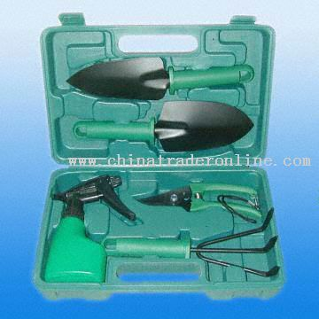 Five-Piece Garden Tool Set with Good Performance in Plastic Case