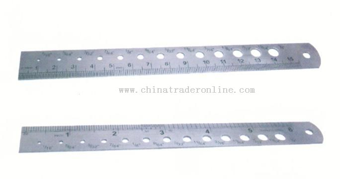 Stainless steel ruler with a drill