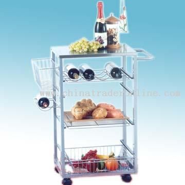 All-Metal Serving Cart with Built-In Wine Rack