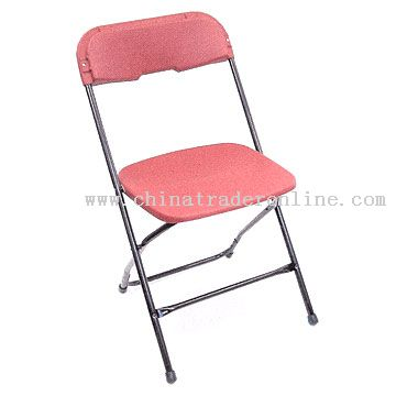 Foldable Metal Chair with Plastic Seat and Back