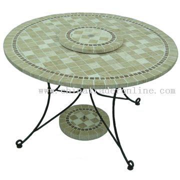 Travertine round table set