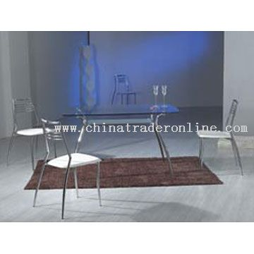 Modern Metal and Glass Dining Table, Chair