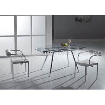 Modern Metal and Glass Dining Table