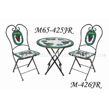 Wrought Iron Mosaic Table Set