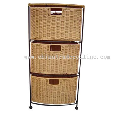 Black Wire Rack Woven Rattan Drawers