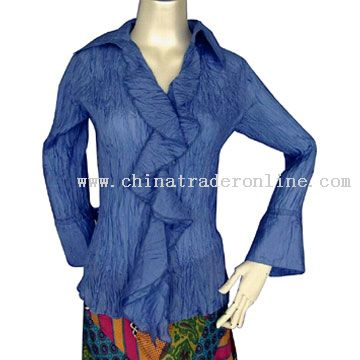 Long Sleeve Crinkled Shirt with Ruffle at Hem from China