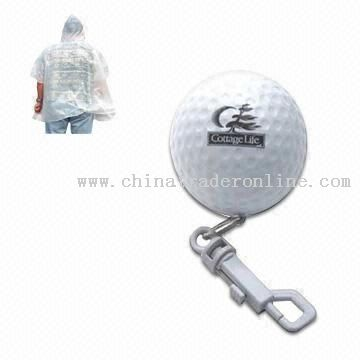 Golf poncho Promotional Rain Poncho in Golf-shaped Case with Keychain from China