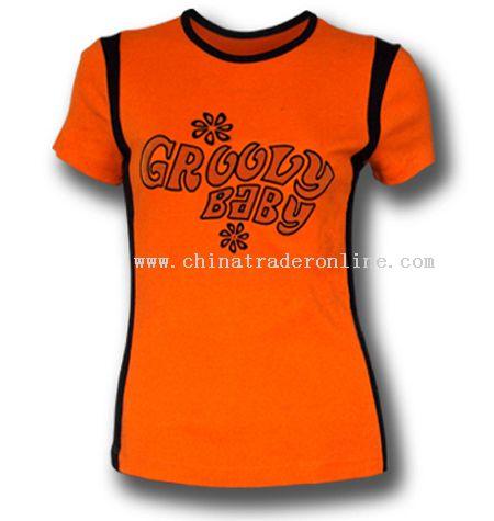 Girls Flocking Dye Printing T-shirts