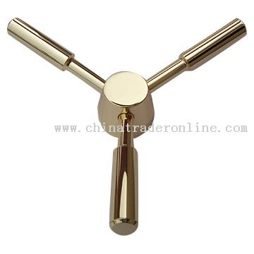 Bronze Plated Three Prong Spindle Wheel