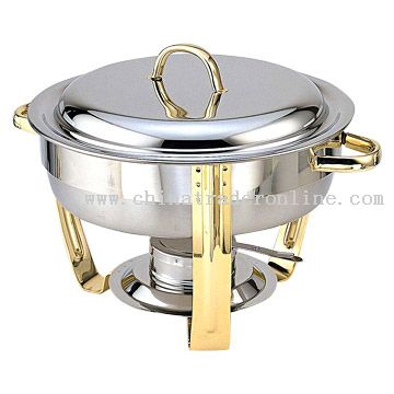 4QT Round Gold Plated Chafing Dish