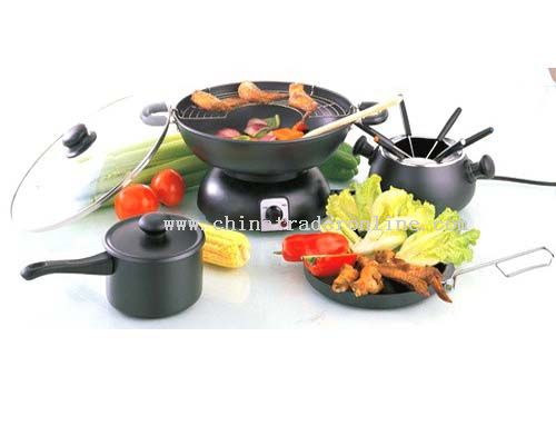 Electric Wok + Fondue + Sauce Pan + Frying Pan Sets