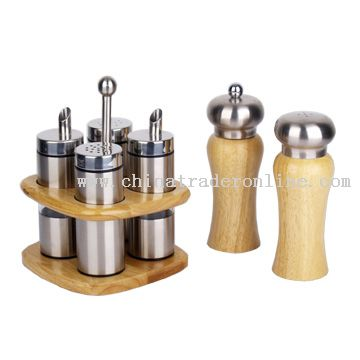 Cruet Set, Pepper Mill and Salt Shaker Set