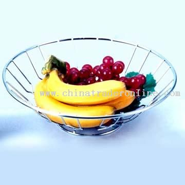 Metal Fruit Basket in Shiny Finish