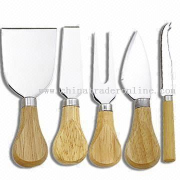 5PCS 5-piece Cheese Knife with Wooden Handle