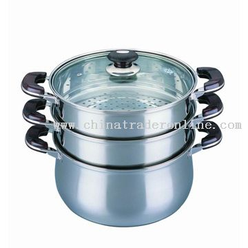 3 Tray Multi-Purpose Curved Steamer Pot